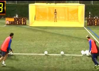 Messi y Luis Suárez, a balonazos contra un dron