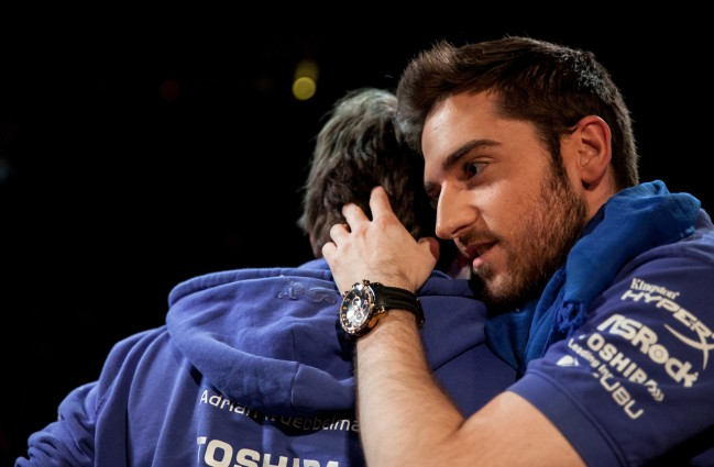 "Carlos ""Ocelote"" Rodríguez hugging a teammate after a match"