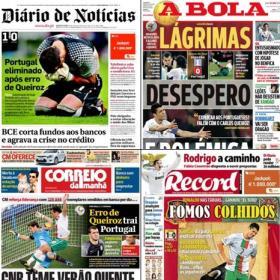 LAS PORTADAS. Toda la prensa lusa llora la eliminación de portugal a manos de España.