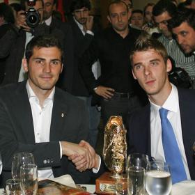 Casillas y De Gea, durante la Gala de la Federación Madrileña.
