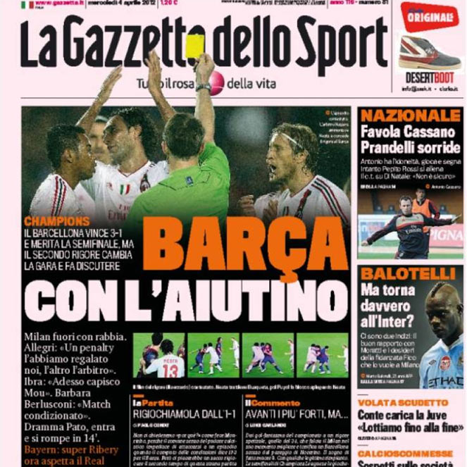 "La prensa italiana habla de ""rabia"" y penalti ""regalado"""