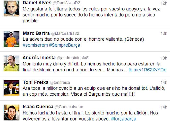 """Los jugadores del Barça en twitter: """"Nos levantaremos"""""""