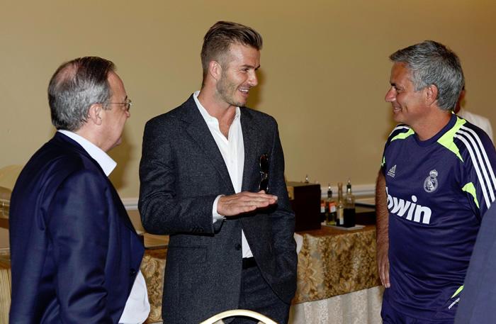 Beckham visitó antes del partido al Madrid