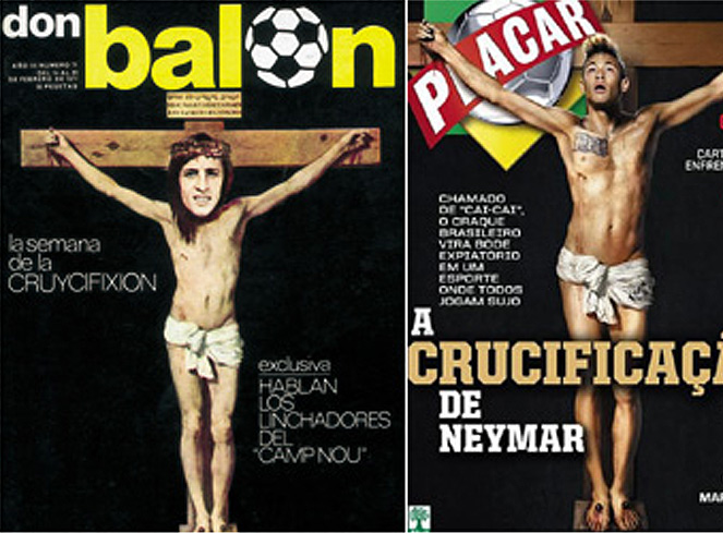 Polémica por la crucifixión de Neymar en la revista 'Placar'