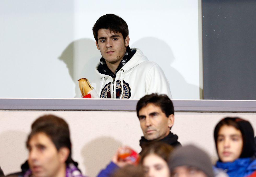 Morata estuvo en Valdebebas para ver el Castilla-Recreativo