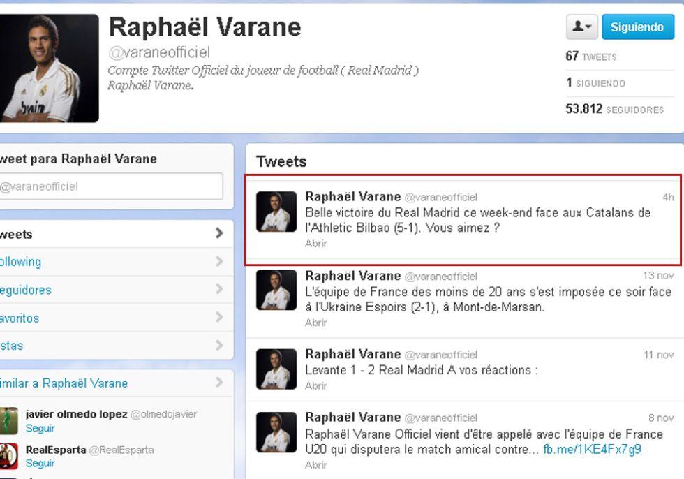 """Lapsus de Varane: """"Gran victoria ante los catalanes del Athletic"""""""