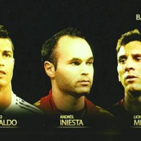 Cristiano, Messi and Iniesta the finalists for 2012 Ballon d'Or