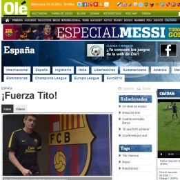"La prensa internacional apoya a Vilanova: ""¡Fuerza Tito!"" dice Olé"