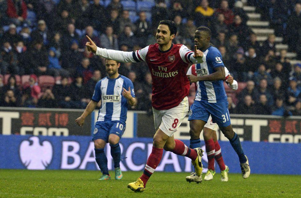 Arteta, de penalti, da la victoria al Arsenal sobre el Wigan