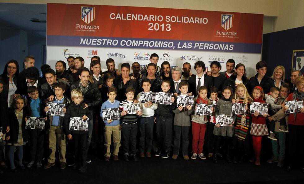 El Atlético de Madrid presentó ayer su calendario solidario