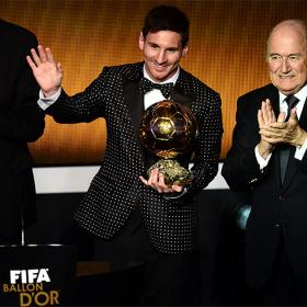 Leo Messi wins the FIFA Ballon d'Or for fourth successive year