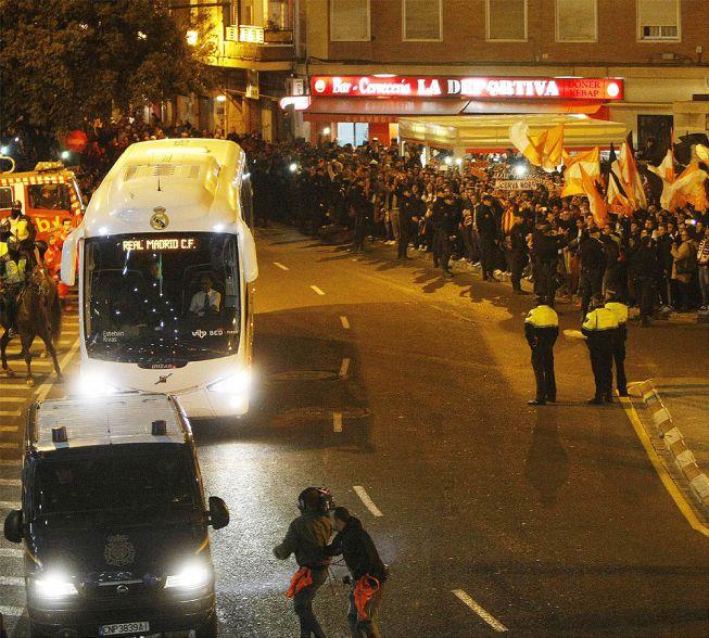 El Real Madrid llegó sin ningún problema al estadio de Mestalla