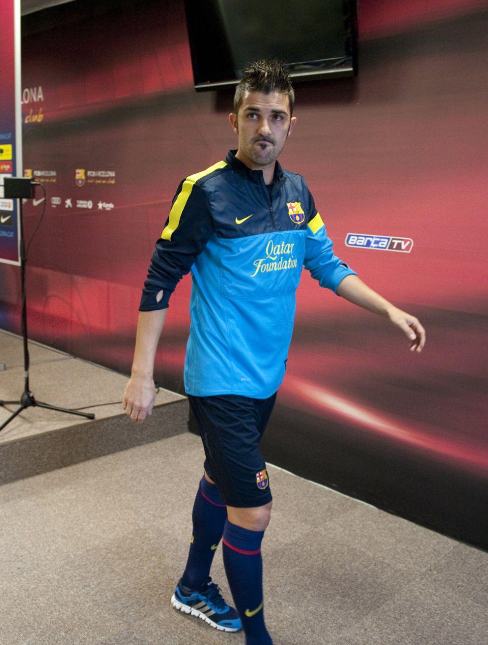 El Barcelona se entrena al completo y Villa podría jugar