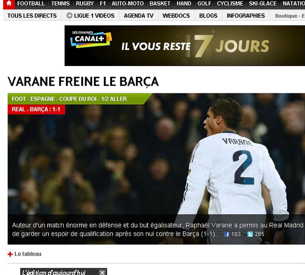 El mundo se rinde al partidazo de Varane en el Clásico