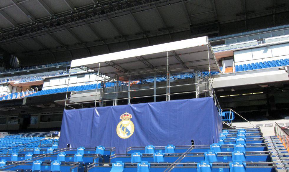 El Real Madrid engalana su palco para recibir a Bale
