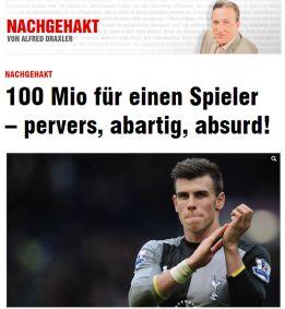 """El diario alemán Bild califica de """"perverso"""" el fichaje de Bale"""