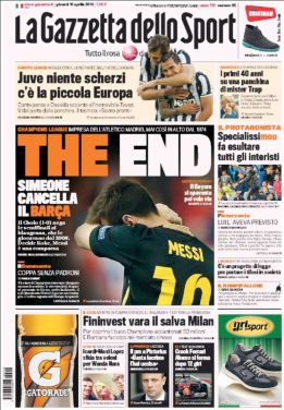 "Dura portada de La Gazzetta: ""The End. Messi, una comparsa"""