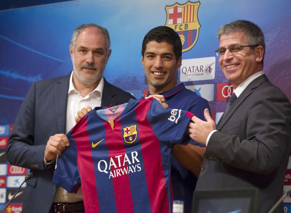 Presentación de Luis Suárez con el Barça