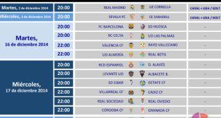 Horarios: el Madrid-Cornellá, el martes 2 a las 20:00 horas