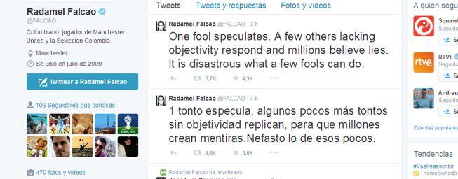 Falcao explota en Twitter