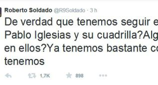 Roberto Soldado critica en twitter a Podemos e Iglesias