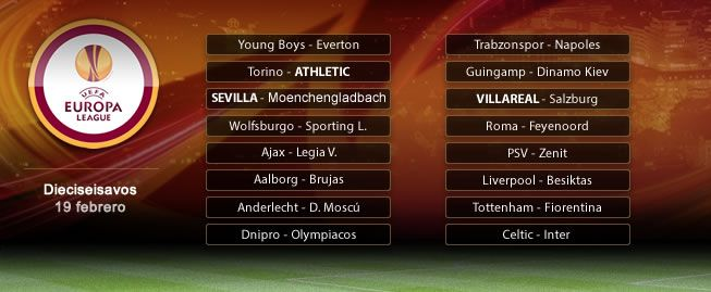 Sevilla-Gladbach, Torino-Athletic y Villarreal-Salzburgo