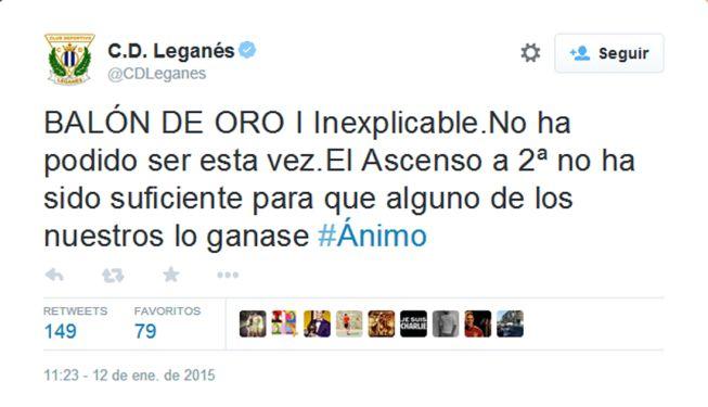 El Leganés ironiza con el Balón de Oro en las redes sociales