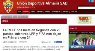 """El Almería, contra RFEF: """"Nos deja 20 puntos y en Segunda"""""""
