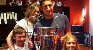 Totti visitó el Camp Nou y el museo del Barça con su familia