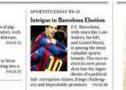 Las 'intrigas' del Barça, portada del papel del New York Times