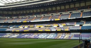 El Santiago Bernabéu ya está engalanado para el partido