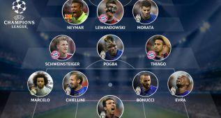 Neymar, Marcelo, Thiago y Morata, en el once ideal