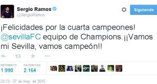 """Ramos felicita al Sevilla: """"¡Vamos mi Sevilla, vamos campeón!"""""""