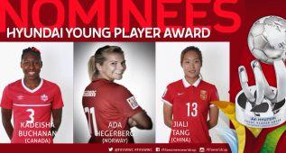 Buchanan, Hegerberg y Tang, finalistas a la jugadora joven