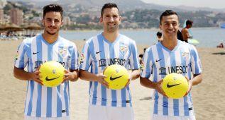 El Málaga presenta junto al mar a Espinho, Charles y Juan Carlos