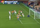 El Valencia reclamó fuera de juego en el 2-1 de Elderson