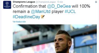 """La cuenta de la Champions dice que """"De Gea es 100% del United"""""""