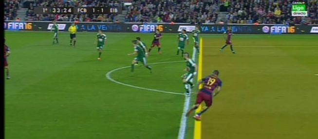 Barcelona vs eibar sandro estaba en fuera de juego en el for En fuera de juego