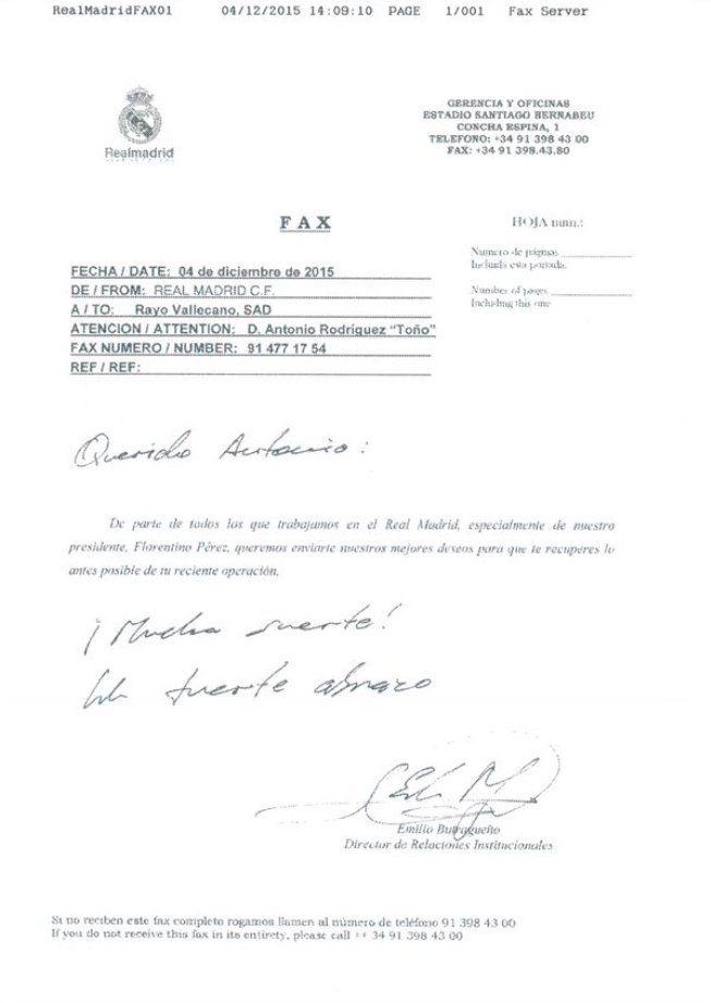 El Madrid desea una pronta recuperación a Toño... ¡por fax!