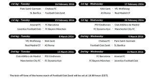 El Madrid jugará el 17 la ida; el Barça, el 23; y el Atleti, el 24