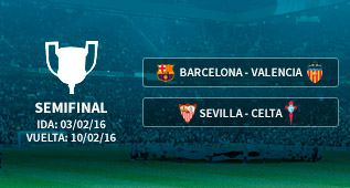 Barça-Valencia y Sevilla-Celta, las semifinales de Copa del Rey