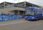 El Espanyol, arropado antes de partir en bus hacia Valencia