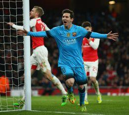 Messi marca en el partido de Champions League contra el Arsenal