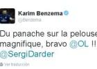 Benzema celebró en Twitter la victoria del Lyon ante el PSG