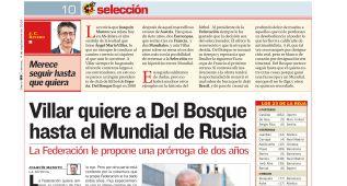 Villar decidió seguir con del Bosque en septiembre de 2015
