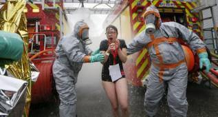 Simulacro de ataque químico en el estadio del Saint Etienne