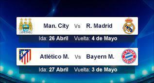 Semifinales: City-Real Madrid y Atlético-Bayern de Múnich