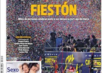 La prensa de Barcelona celebra la masiva rúa del Barça