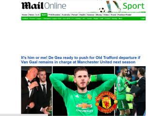 Mail: De Gea pide al United que elija entre él o Van Gaal