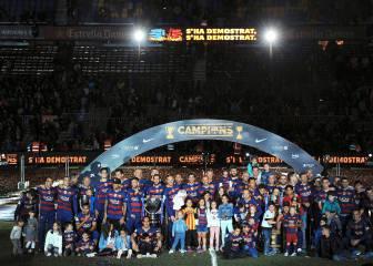 La celebración del doblete Barcelona en el Camp Nou